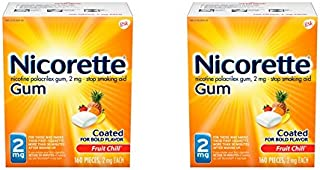 Nicorette Nicotine Gum to Quit Smoking, 2 mg, Fruit Chill Flavored Stop Smoking Aid, 160 Count (Pack of 2)