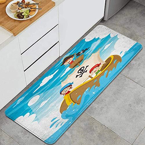 Marutuki Anti-Müdigkeit Küche Bodenmatte,Cartoon Kinder Piratenschiff,rutschfest Gepolstert Tür...