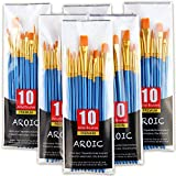 Acrylic Paint Brush Set, 6 Packs / 60 pcs Nylon Hair Brushes for All Purpose Oil Watercolo...