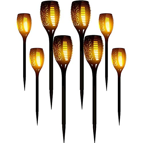 LazyBuddy Solar Torch Lights Outdoor, Upgraded Waterproof Auto on/Off Solar Torches with Flickering...