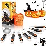 QcoQce Kit Intaglio Zucca Halloween (7 PCS), Set di Intaglio di Zucca Professionale, Zcciaio Inossidabile Robusto, Strumenti di Zucca di Halloween di Facile Intaglio per Adulti e Bambini