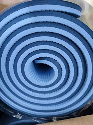 Esterilla de yoga de material TPE, antideslizante, para pilates, entrenamiento, yoga, fitness, 183 x 61 x 1 cm, azul marino