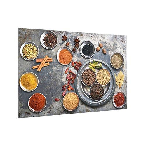 Bilderwelten Panel antisalpicaduras de Cristal - Shabby Spice Plate - Horizontal 2:3, Panel antisalpicaduras Panel de Vidrio para Cocina Protector contra Salpicaduras, Tamaño: 59cm x 90cm