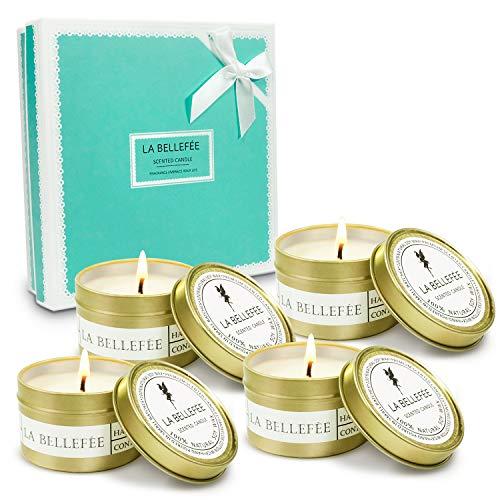 LA BELLEFÉE Duftkerze Sojawachs Kerze Aromatherapie Geschenkset für Hochzeiten, Party und Weihnachten (4 x 90g)