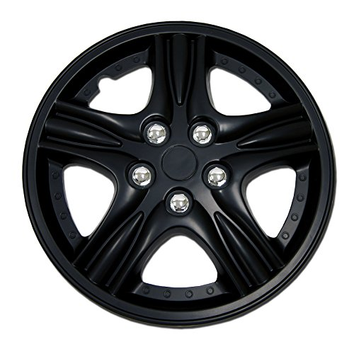 Tuningpros WC1P-15-510-B - Pack of 1 Hubcap (1 Piece) - 15-Inches Style Snap-On (Pop-On) Type Matte Black Wheel Covers Hub-caps