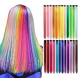 LANSE extensiones de pelo de colores en el clip 24 PC / paquete de 24 colores del arco iris 21inch sintético pelo largo recta seleccionada para mujeres niñas niños regalos (Colorido)
