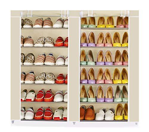 Vinsani - Estantería organizadora para zapatos, 2 unidades, 6 niveles, 36 pares, de lona, color crema