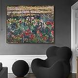 Peony Garden Monet pintura de pared cartel impresión lienzo pintura al óleo caligrafía decoración im...