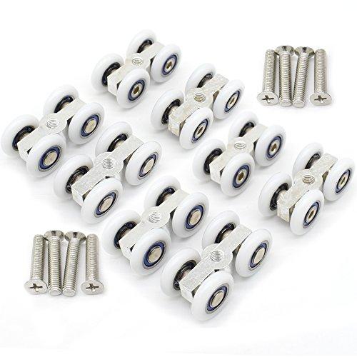 8 Stück Glasschiebetürbeschläge zum Aufhängen, kleine Riemenscheibe, zum Aufhängen, konventionelle 4-läufige Rollen