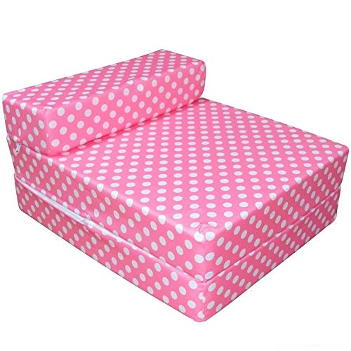 BUY ALL HERE 3 in One Z Bed, Chair, Folding Sofa Bed – Super Soft & HQ Foam Mattress | Breathable | Hypoallergenic | Waterproof Washable Cover - PINK WITH WHITE DOT