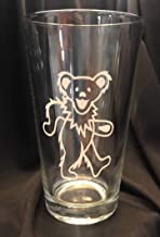 Gift Set of 4 Grateful Dead Jerry Garcia Deadhead Stemless Wine Glass Laser Engraved 21 oz Fraternity Hippie Jerry Bear