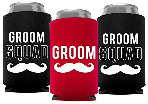 Your Dream Party Shop Groom and Grooms Squad Bachelor Party Can Coolers, Set of 12 Beer Can Coolies, Perfect Bachelor Party Decorations and as Grooms Men Gifts (Red)