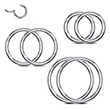 BodyJ4You 6PC Segment Ring Seamless Nose Lip Cartilage Hoop 18G Stainless Steel Hinged Clicker