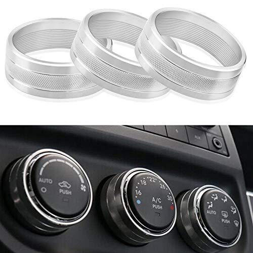 Aluminum Interior Air Conditioner Conditioning Switch Cover Trim Ring Compatible with 2011-2018 Jeep Wrangler JK JKU Compass Patriot/Dodge Challenger 2008-2014 Interior Accessories (Silver)