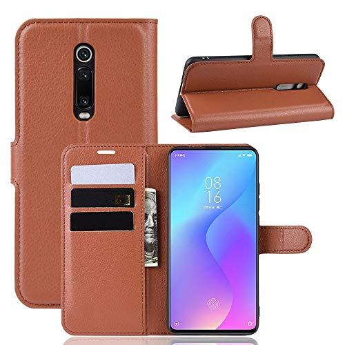 Funda telefónica para Xiaomi Funda de Cuero con Textura Horizontal Litchi for Xiaomi Redmi K20 / K20 Pro/Mi 9T / Mi 9T Pro, con Billetera, Soporte y Ranuras for Tarjetas (Color : Brown)