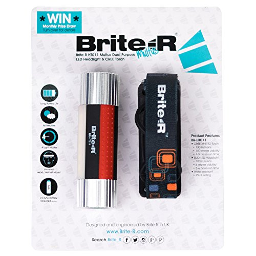 Brite-R BR-HT011SR Multus Dual Purpose CREE XP-E R2 LED Koplamp & Zaklamp met Hoofdband Hoofdband, Zilver & Rood