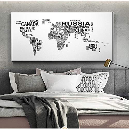 QWESFX Lettere Mappa del Mondo Wall Art Canvas Astratto Arte in Bianco e Nero Parole Mappa del Mondo Poster e Stampe Immagini per Soggiorno Decor (Stampa Senza Cornice) D 60x90CM