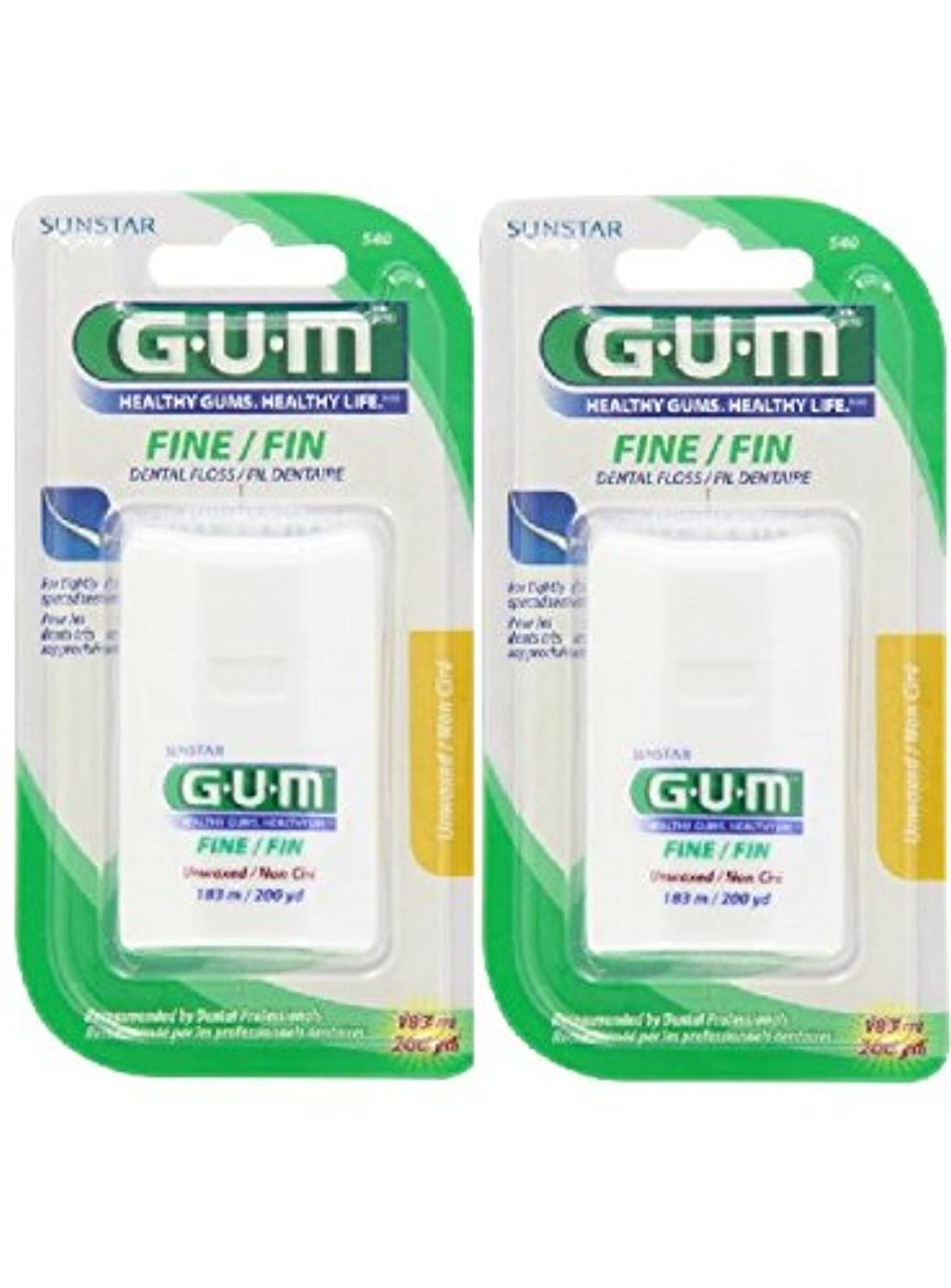 GUM Fine Floss, Unwaxed 200yds (pack of 2)