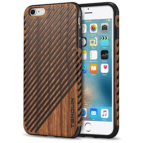 TENDLIN iPhone 6s Plus Case/iPhone 6 Plus Case with Wood Grain Outside Soft TPU Silicone Hybrid Slim Case for iPhone 6 Plus 5.5
