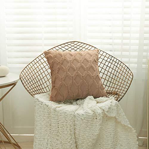 SHIN Funda de Almohada de Felpa de rombo 3D, Funda de Almohada Decorativa geométrica, Funda de Almohada de Primavera Nueva, Funda de cojín para sofá, Estilo nórdico, decoración del hogar
