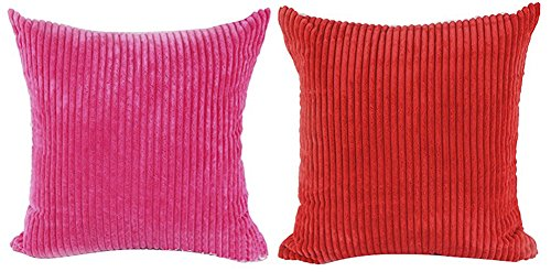 ChezMax Square/Rectangle Solid Pinkycolor Printed Cushion Cover Corduroy Striped Throw Pillow Case Sham Slipover Pillowslip Pillowcase for Bed Room Sofa Couch Chair Back Seat