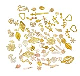 100g Mixed Charms Pendants Assorted DIY Antique KC Gold And Gold Charms Pendant for Crafting Bracelet Necklace Jewelry Findings Jewelry Making Accessory (100g gold and KC gold)