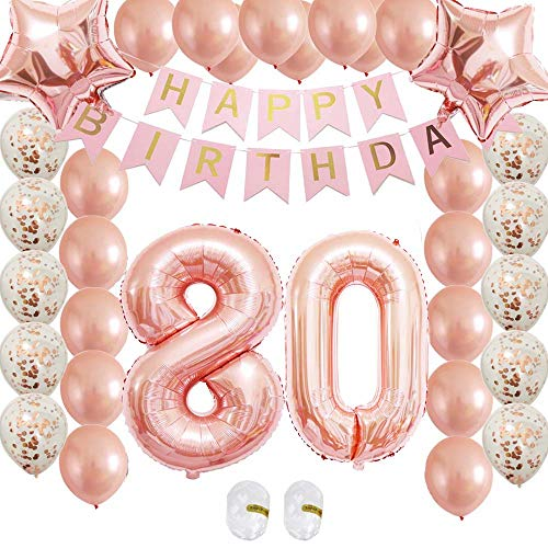 80th Birthday Decorations Party Supplies Rose Gold Kits-Confetti Latex Balloon|Happy Birthday Banner for Womens Wedding Anniversary Bday as Gift,Photo Booth