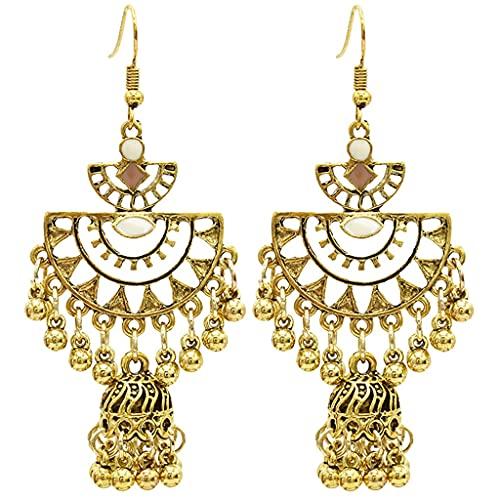 Pendientes Indios de Bollywood Hermosa intrincadamente Artesanal Tribal Boho Designer Partamentos encantos en Tono de Plata Oxidado para Mujeres (Color : White)