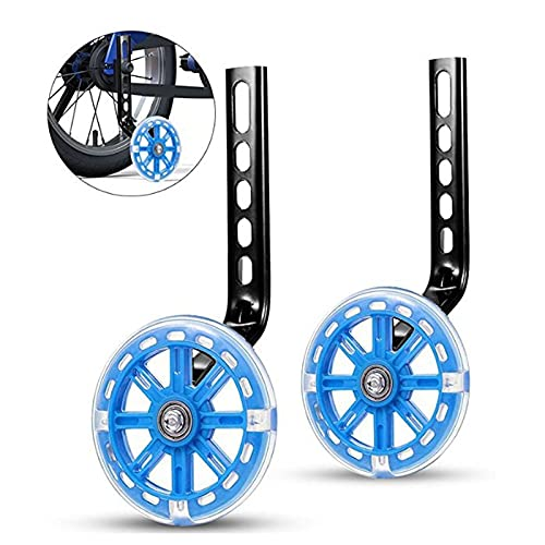 GHMPNLG Bicycle Training Flash Wheels,Wheels Boys Girls Stabilizers Mounted Kit,LED Flash Kids Bike Stabilisers,Kids Riding Safety Equipment, for 12 14 16 18 20 Inch Bicycle (Color : Blue)