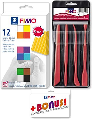 Staedtler FIMO 12er Materialpackung + Werkzeuge Set inkl. Bonus