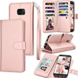 Tekcoo for Galaxy S7 Case/Galaxy S7 Wallet Case, Luxury ID Cash Credit Card Slots Holder Purse Carrying PU Leather Folio Flip Cover [Detachable Magnetic Case] & Kickstand for Samsung S7 - Rose Gold