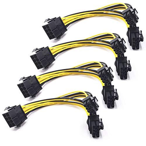 8Pin PCI Express zu 2 X PCIe 8 (6 + 2) -Pin & 6-Pin Motherboard-Grafikkarte PCI-e GPU VGA-Y-Splitter Hub-Stromkabel (4 Pack)