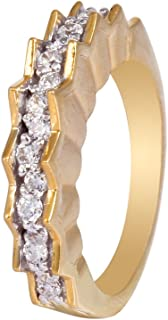 izaara Yellow 92.5 Silver Sterling Hallmark Silver Ring with Studded Cubic Zirconia for Women