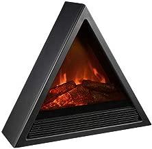 Chimenea eléctrica calentador portátil estufa 1500W vidrio de frente, independiente chimenea calefacción calentador interior cálido aire realista llama efecto (Color : Black)