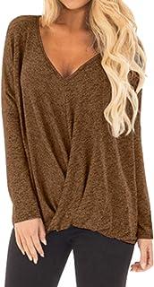 1bb24f5597 Womens Thin Solid Color V-Neck Long Sleeve Hem Irregular Wrap Blouse Tops