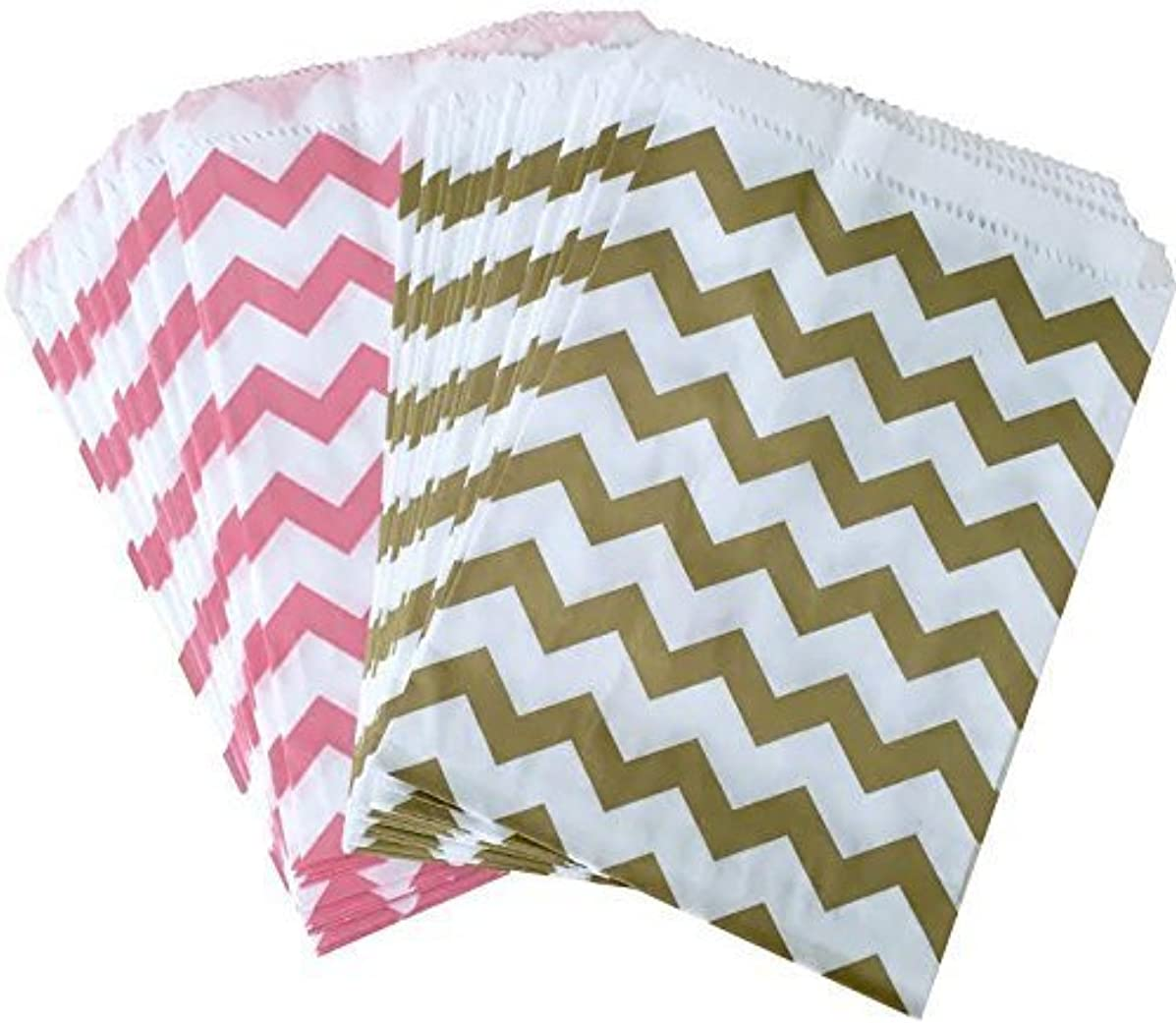 Outside the Box Papers Light Pink and Gold Chevron Treat Sacks 48 Pack 5.5 x 7.5 Pink, Gold, White