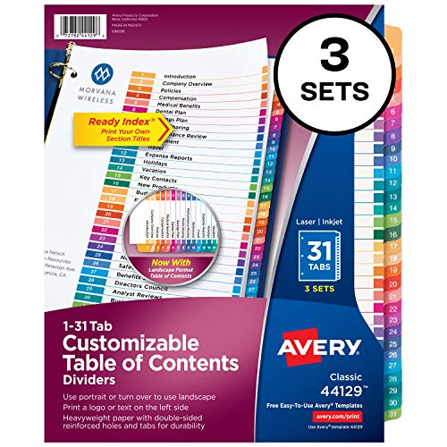 Avery 31-Tab Dividers for 3 Ring Binders, Customizable Table of Contents, Multicolor Tabs, 3 Sets (44129)