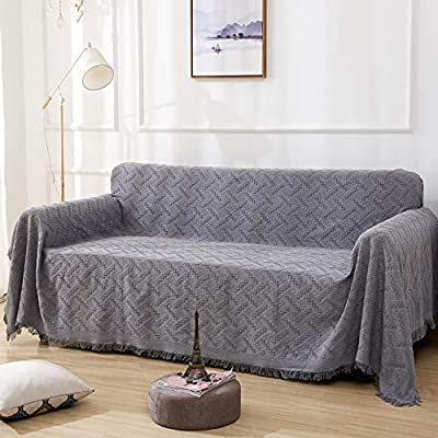 RHF Geometrical Sofa Cover, Couch Cover, Couch Covers for 3 Cushion Couch, Sectional Couch Covers, Sofa Covers for Living Room, Couch Covers for Dogs, Couch Protector(Large:Dark Grey)