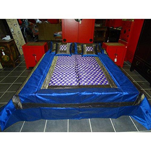 int. d'ailleurs - Parure de lit Brocart Rose Turquoise Bord Saree - parur051