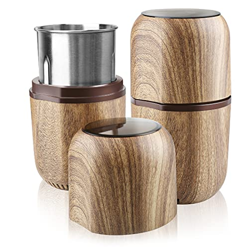 COOL KNIGHT Herb Grinder [large capacity/fast /Electric ]-Spice Herb Grinder with Pollen Catcher/- 7.5' (Wood grain)
