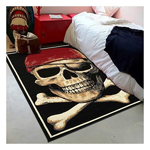 Tapis Enfant 120x170 cm Rectangulaire BC Pirate Skull Noir Chambre adapté au Chauffage par Le Sol