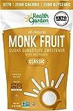 Health Garden Monk Fruit Sweetener, Classic White - Non GMO - Gluten Free - 1:1 Sugar Substitute - Keto Friendly - Taste Like Sugar (12 Oz)