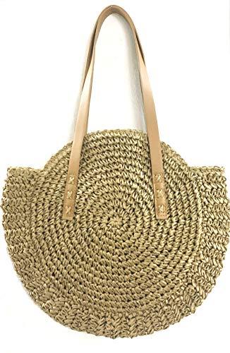 ShopINess Bolso de rafia redondo (Camel)