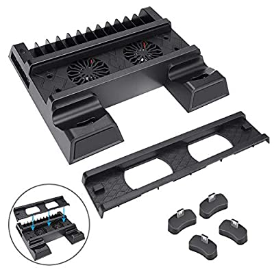 Vertical Stand for PS4/PS4 Slim/PS4 Pro, BicycleStore Controller Charger Station with 2 Cooling Fans 2 Controller Charging Dock Station, 3 Extra USB Ports, 12 Games Storage for PlayStation 4 Consoles
