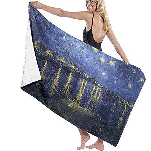 telo mare van gogh Telo mare Van Gogh Notte Stellata sopra il Rodano Telo da Mare Asciugamano da Bagno Morbidezza Assorbenza Uso Quotidiano Sport All'aperto Viaggio Nuotata 80X130Cm