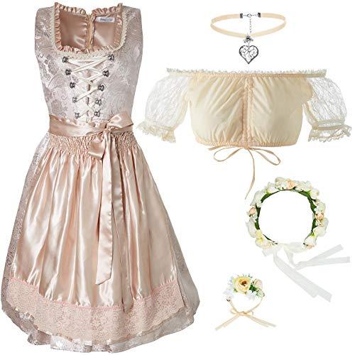 dressforfun 950019 Damen Trachtenset, 5-teilig, Beige Dirndl + beige Trachtenbluse mit Halskette, Armschmuck und Blumenkranz - Diverse Größen (Dirndl XXL | Bluse XXL | Nr. 350186)