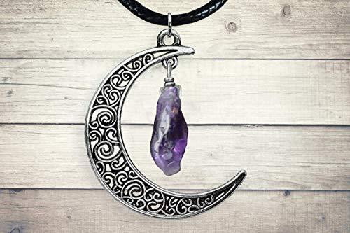 Amethyst point Silver Celtic Moon Pendant Purple Stone