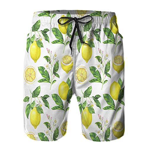 Hombres Playa Bañador Shorts,Patrón de limón Transparente sobre Fondo Blanco Ilustración Acuarela Dibujada a Mano,Traje de baño con Forro de Malla de Secado rápido XL