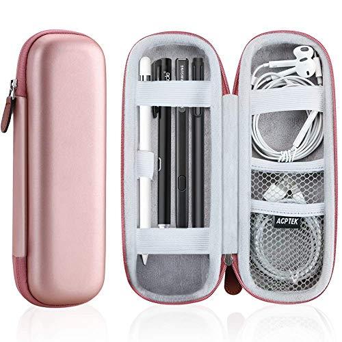 GPTEK Apple Pencil Hülle (1. & 2. Generation), Premium Kunstleder Tasche, Schutzhülle, unterstützt für Samsung, Huawei, Surface Pro Eingabestift mit Ablagefach, für USB Kabel, Dame, weiblich Rosa