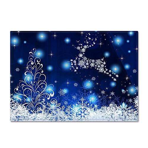 DRTWE Soft Velvet 3D Elemento de Navidad impresión Alfombra Copo de Nieve patrón Antideslizante niños juegan Alfombra Moderna Sala de Estar Cama Piso Pad casa decoración,120 * 160cm